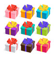 3d presents collection gifts with ribbons and bows vector image