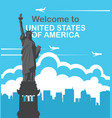 banner with statue of liberty and flying planes vector image