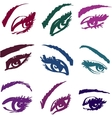 Beautiful girls eyes collection vector image