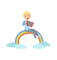 Boy Playing Accordion With Rainbow And Clouds vector image vector image