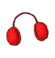 Bright red fluffy fur ear muffs vector image
