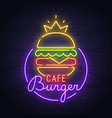 burger neon sign neon sign burger cafe logo vector image