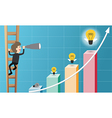 businessman climb ladder and use telescope looking vector image