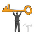 businessman holding big golden key over his head vector image vector image