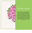 Card for text with roses vector image vector image