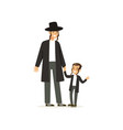 cartoon characters of orthodox jews smiling father vector image