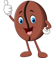 Cartoon funny Coffee bean giving thumb up vector image