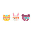 cat rabbit bear faces with glasses flat design vector image vector image