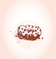 Chocolate donut with cream Hand drawn sketch on vector image