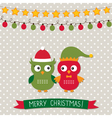 Christmas card with owls vector image