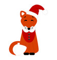 christmas fox christmas card funny fox in a suit vector image