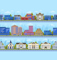 city street panorama city road streets cityscape vector image