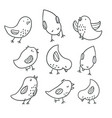 collection of cute hand drawn bird doodles vector image vector image