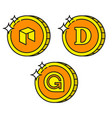 cryptocurrency black outline gold icons dogecoin vector image vector image