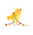 cute baby chicken entangled in party flags funny vector image vector image