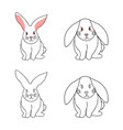 cute white rabbit isolated on white background vector image vector image