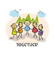 doodle cartoon figure people meet together vector image vector image