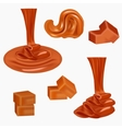 Flow pouring sweet caramelCaramel candiessquare vector image vector image