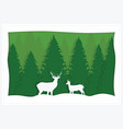 greeting card green spruce and deer vector image vector image