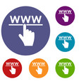 hand cursor and website icons set vector image vector image