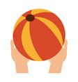 hand holding beach ball vector image