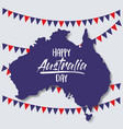 happy australia day poster with australia map and vector image vector image
