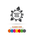 Happy new year globe sign icon Gifts and trees vector image vector image