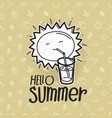 hello summer cute sun on pattern with beach stuff vector image vector image