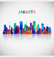 jakarta skyline silhouette in colorful geometric vector image