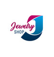 jewelry shop letter j icon vector image