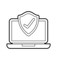 laptop shield protection checkmark screen digital vector image