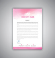 Letterhead with watercolour design vector image