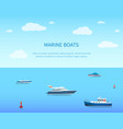 marine boats bright color card vector image vector image