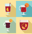 mulled wine icon set flat style vector image vector image