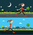 night and day run in city running woman vector image vector image