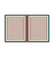 notebook opened with horizontal lines and metal vector image vector image
