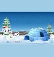 polar bear cartoon waving hand in the snowing hill vector image
