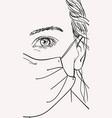 portrait teenage girl in medical face mask vector image