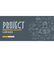 project management concept with doodle design vector image vector image