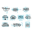 research science subjects lettering icons vector image vector image