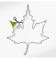 scissors cut sticker autumn leaf vector image vector image