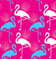 Seamless pink pattern with flamingo vector image vector image