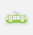simple green icon - tram streetcar vector image