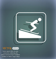 Skier icon On the blue-green abstract background vector image