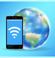 smartphone connect wifi with planet earth globe vector image vector image