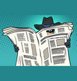 spy watches through newspaper vector image vector image