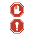 stop sign and attention sign on white background vector image vector image