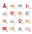 stylized restaurant cafe and bar icons vector image