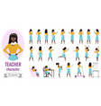 teacher woman poses set with cartoon female vector image vector image