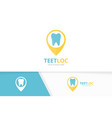 tooth and map pointer logo combination vector image vector image